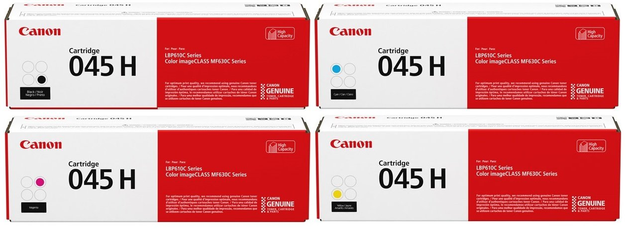 Genuine High Capacity 4 Colour Canon 045H Toner Cartridge Multipack (045H BK/C/M/Y)