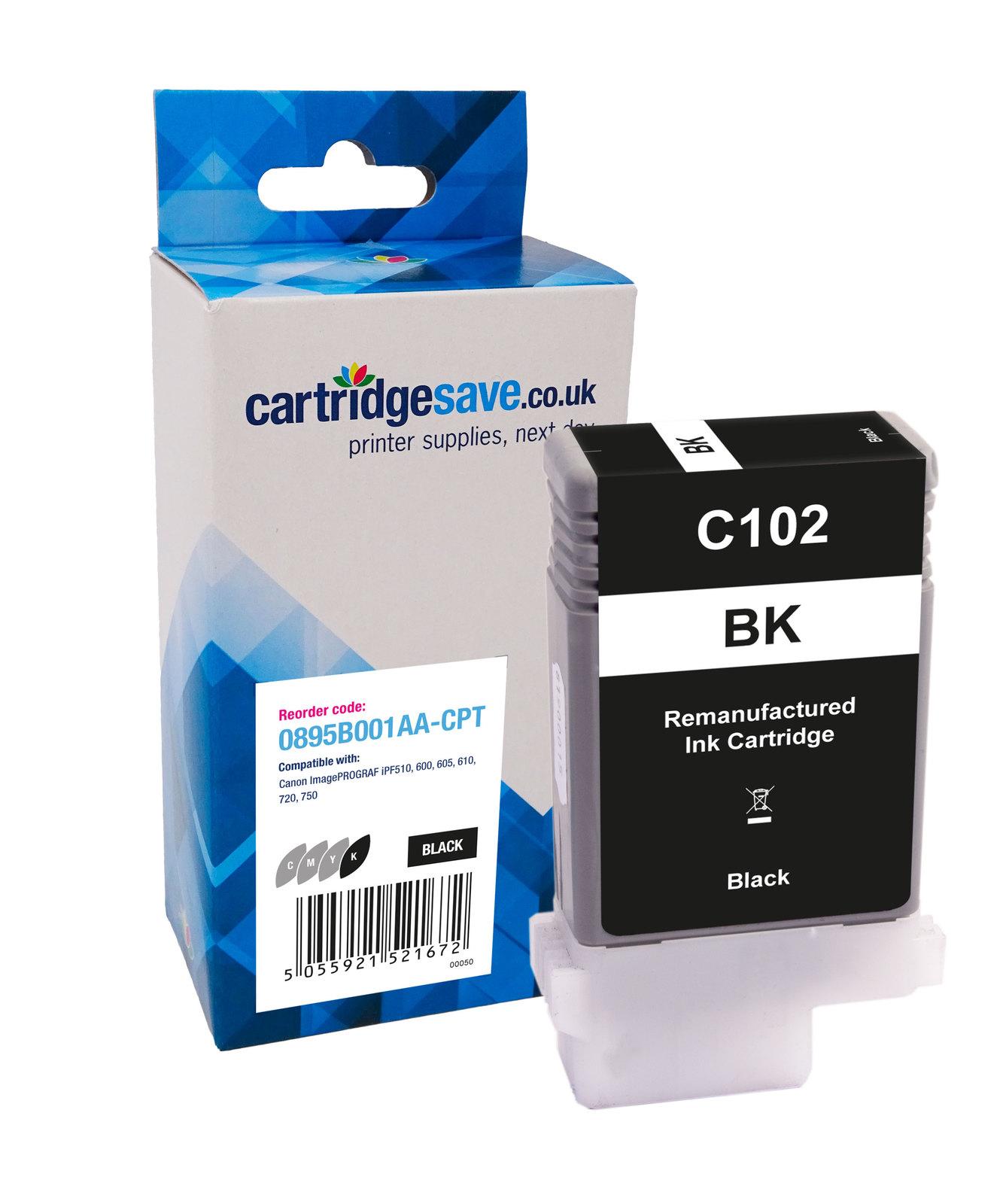 Compatible Black Canon PFI-102BK Ink Cartridge - (Replaces 0895B001AA)