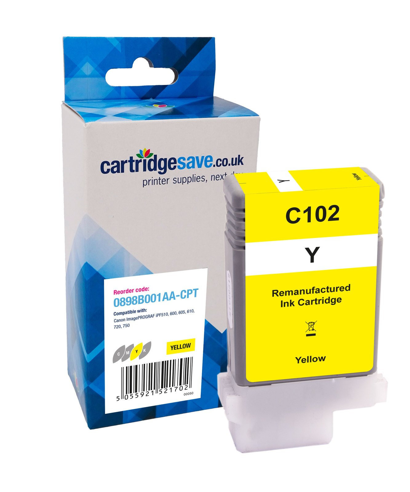 Compatible Yellow Canon PFI-102Y Ink Cartridge - (Replaces 0898B001AA)