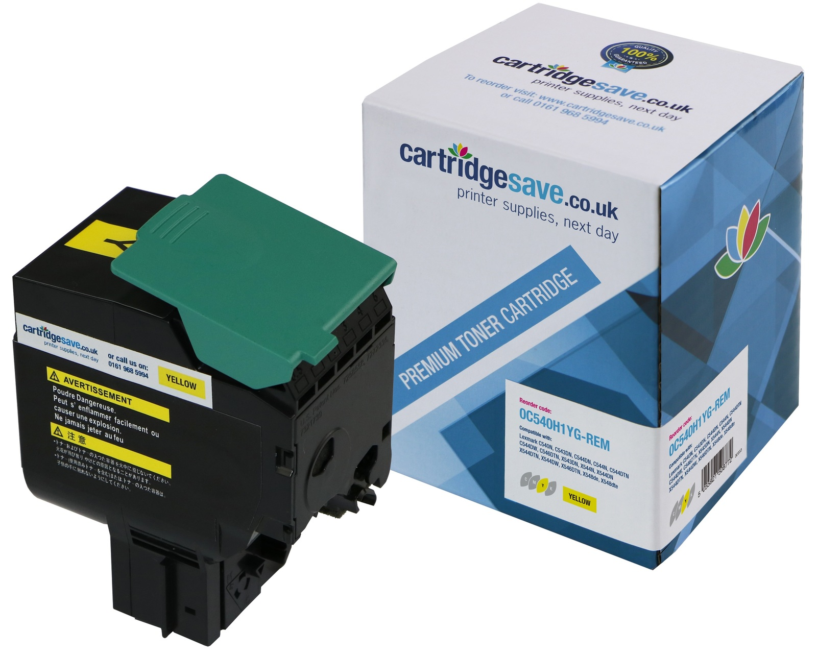 Compatible High Capacity Yellow Lexmark C540H1YG Toner Cartridge (Lexmark 0C540H1YG High Yield Yellow Laser Toner)