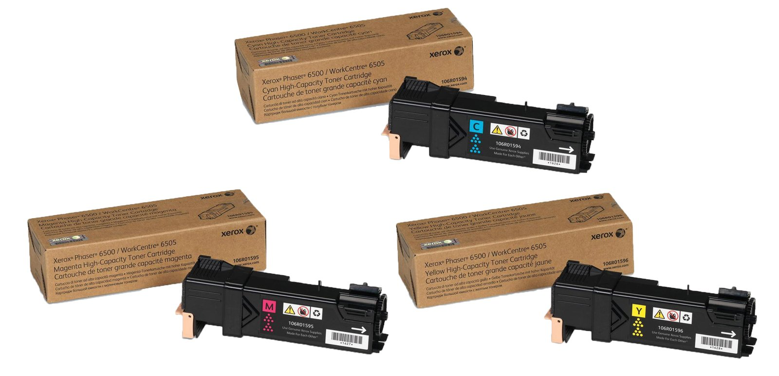 Genuine High Capacity 3 Colour Xerox 106R0159 Toner Cartridge Multipack - (106R01594/5/6)