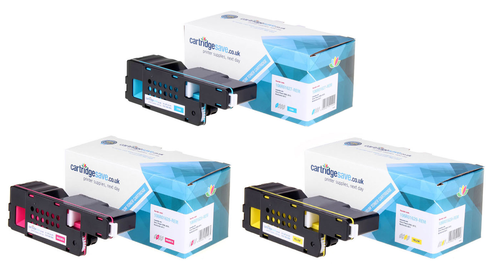 Compatible 3 Colour Xerox 106R016 Toner Cartridge Multipack (Replaces Xerox 106R01627/28/29)