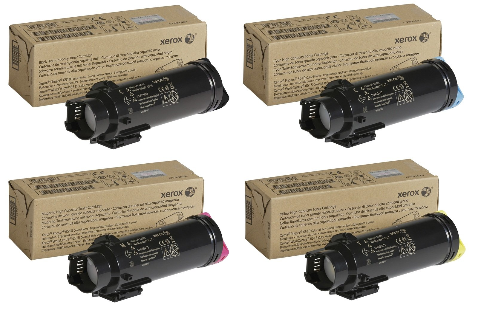 Genuine High Capacity 4 Colour Xerox 106R034 Toner Cartridge Multipack - (106R03480/77/78/79)