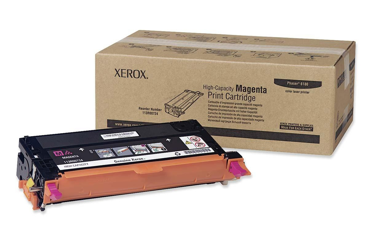 Genuine High Capacity Magenta Xerox 113R00724 Toner Cartridge (113R00724 Laser Printer Toner)