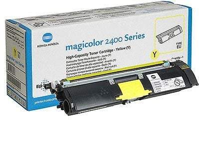Genuine High Capacity Yellow QMS Konica Minolta 1710589-005 Toner Cartridge (1710589-005 Laser Printer Toner)