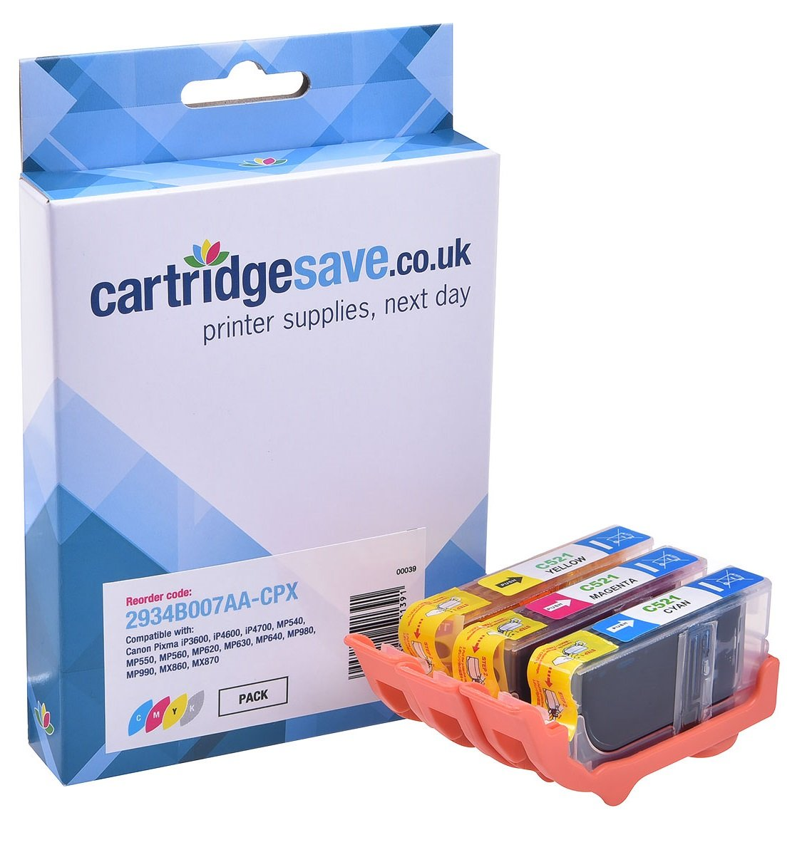 Compatible 3-Colour Canon CLI-521 Ink Cartridge Multipack - (replaces 2934B007AA)