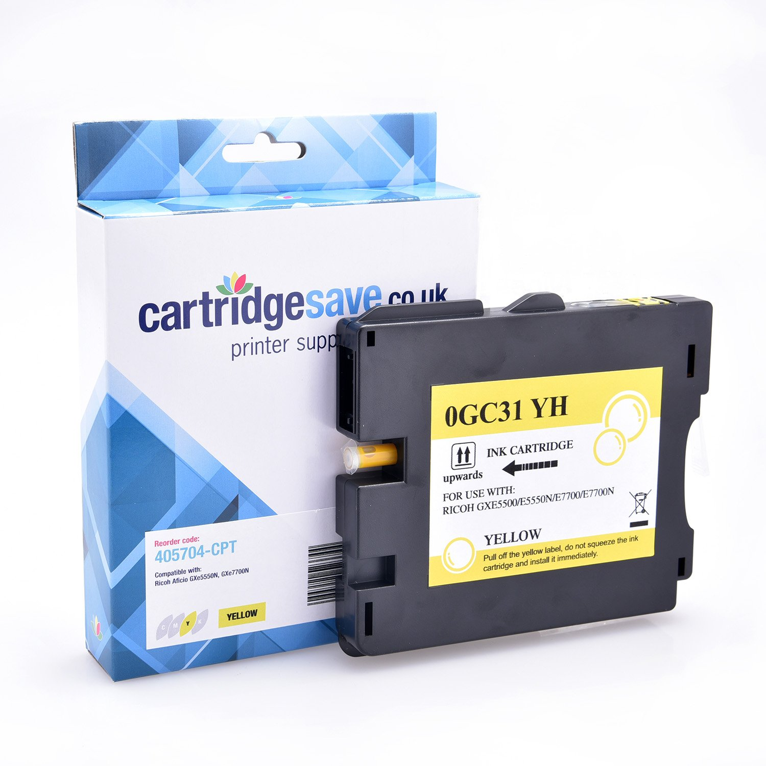 Compatible Ricoh High Capacity Yellow GC31YH Gel Ink Cartridge - (Ricoh Yellow 405704 Gel Cartridge)