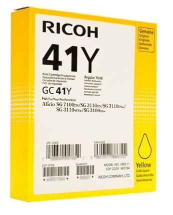 Genuine Standard Capacity Yellow Ricoh GC41Y Gel Ink Cartridge - (Ricoh Yellow 405764 Gel Cartridge - Non Sublimation)