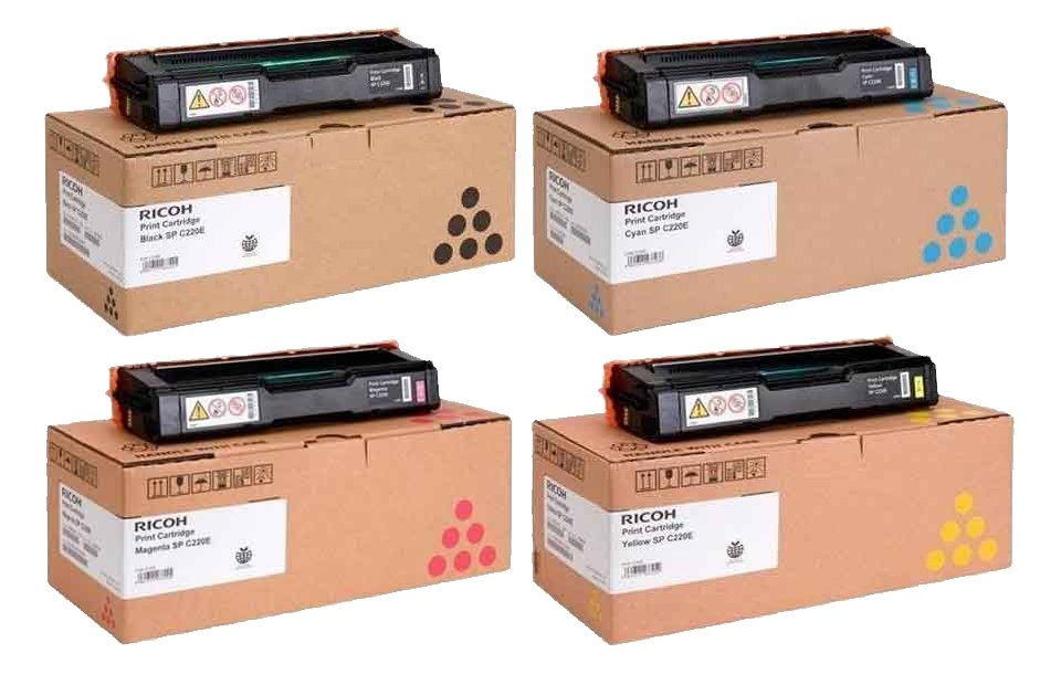 Genuine 4 Colour Ricoh Type SPC220E Toner Cartridge Multipack - (406094/406097/406100/406106)