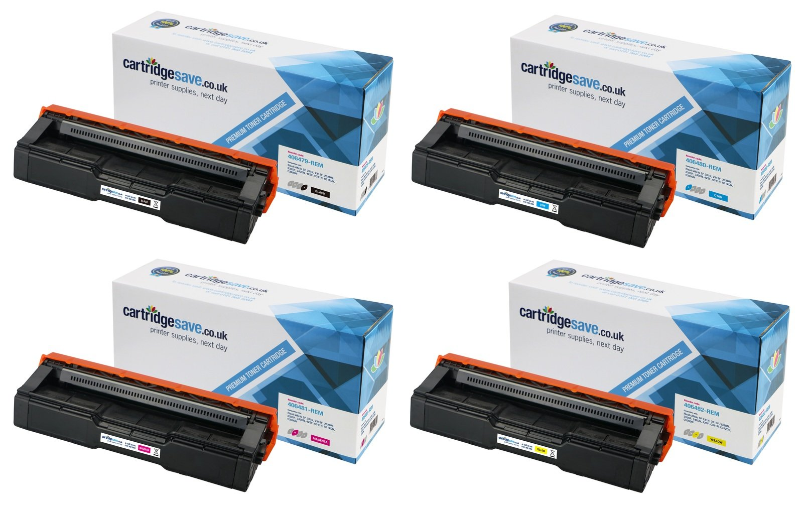 Compatible High Capacity 4 Colour Ricoh 4064 Toner Cartridge Multipack - (406479/406480/406481/406482)