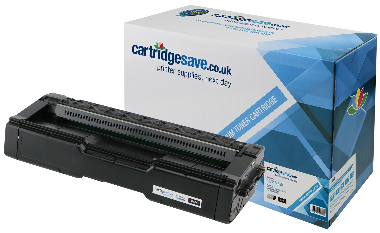 Compatible Black Ricoh 407716 Laser Toner (Replaces Ricoh 407716 Laser Printer Cartridge)