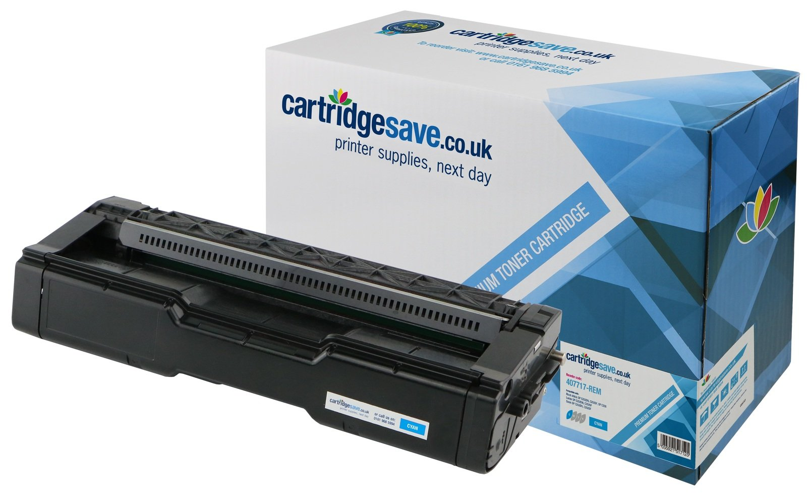 Compatible Cyan Ricoh 407717 Laser Toner (Replaces Ricoh 407717 Laser Printer Cartridge)