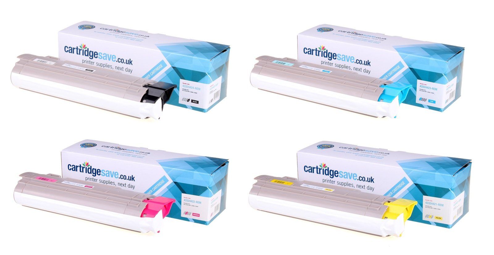 Compatible 4 Colour OKI 4332442 Toner Cartridge Multipack - (43324424/3/2/1)