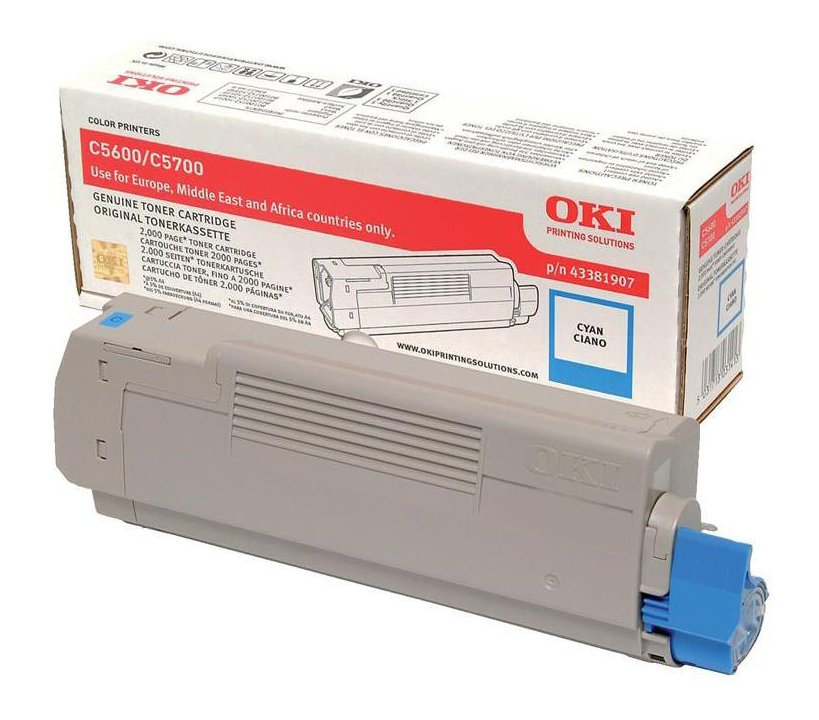 Genuine Oki Cyan 43381907 Toner Cartridge (43381907 Laser Printer Cartridge)