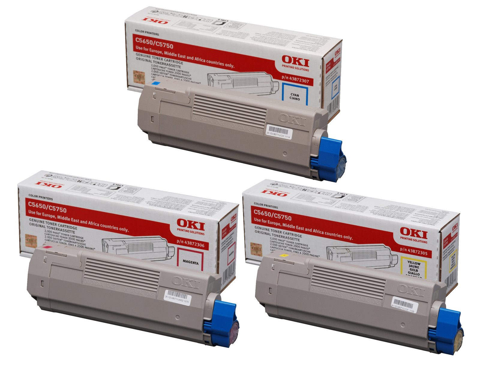 Genuine 3 Colour OKI 4387230 Toner Cartridge Multipack - (43872307/06/05)