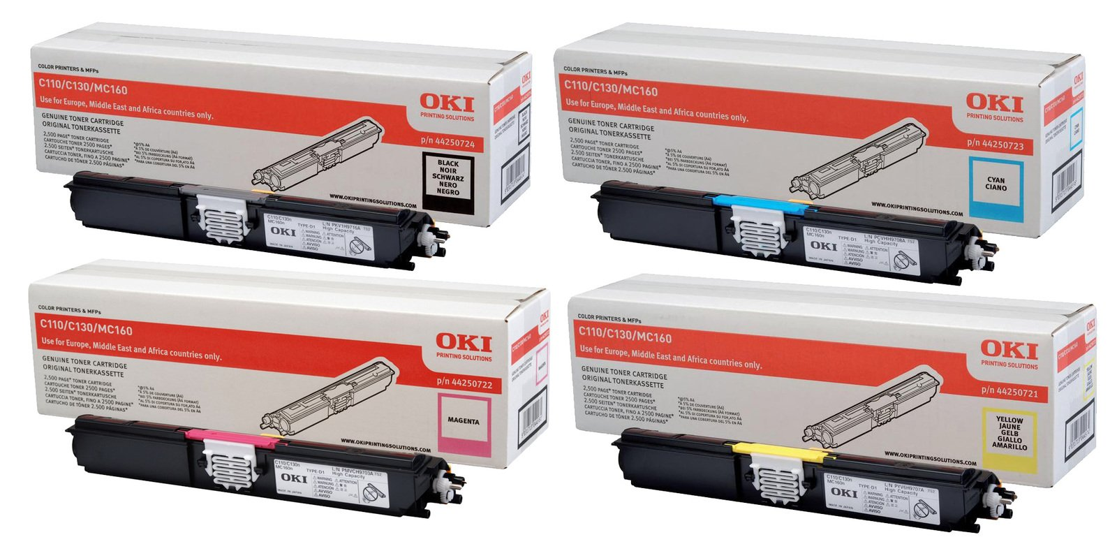 Genuine High Capacity 4 Colour OKI 4425072 Toner Cartridge Multipack - (44250724/3/2/1)