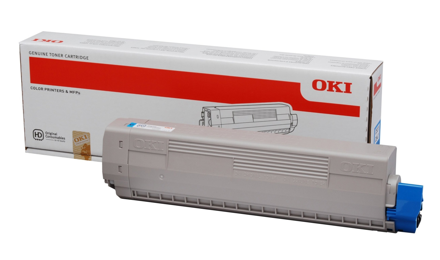 Genuine Cyan OKI 44844507 Toner Cartridge - (44844507 Laser Printer Cartridge)