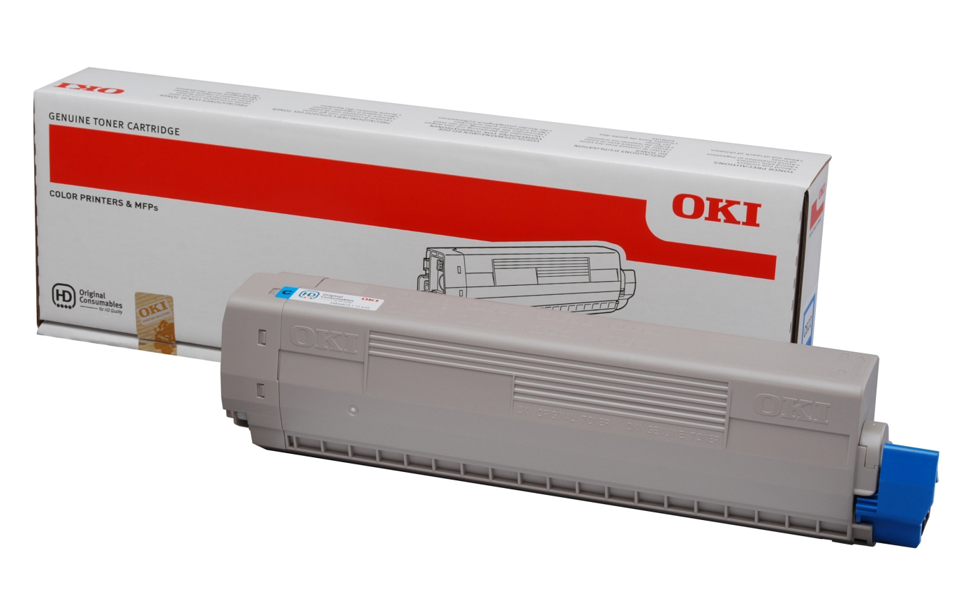 Genuine Cyan OKI 44844615 Toner Cartridge - (44844615 Laser Printer Cartridge)