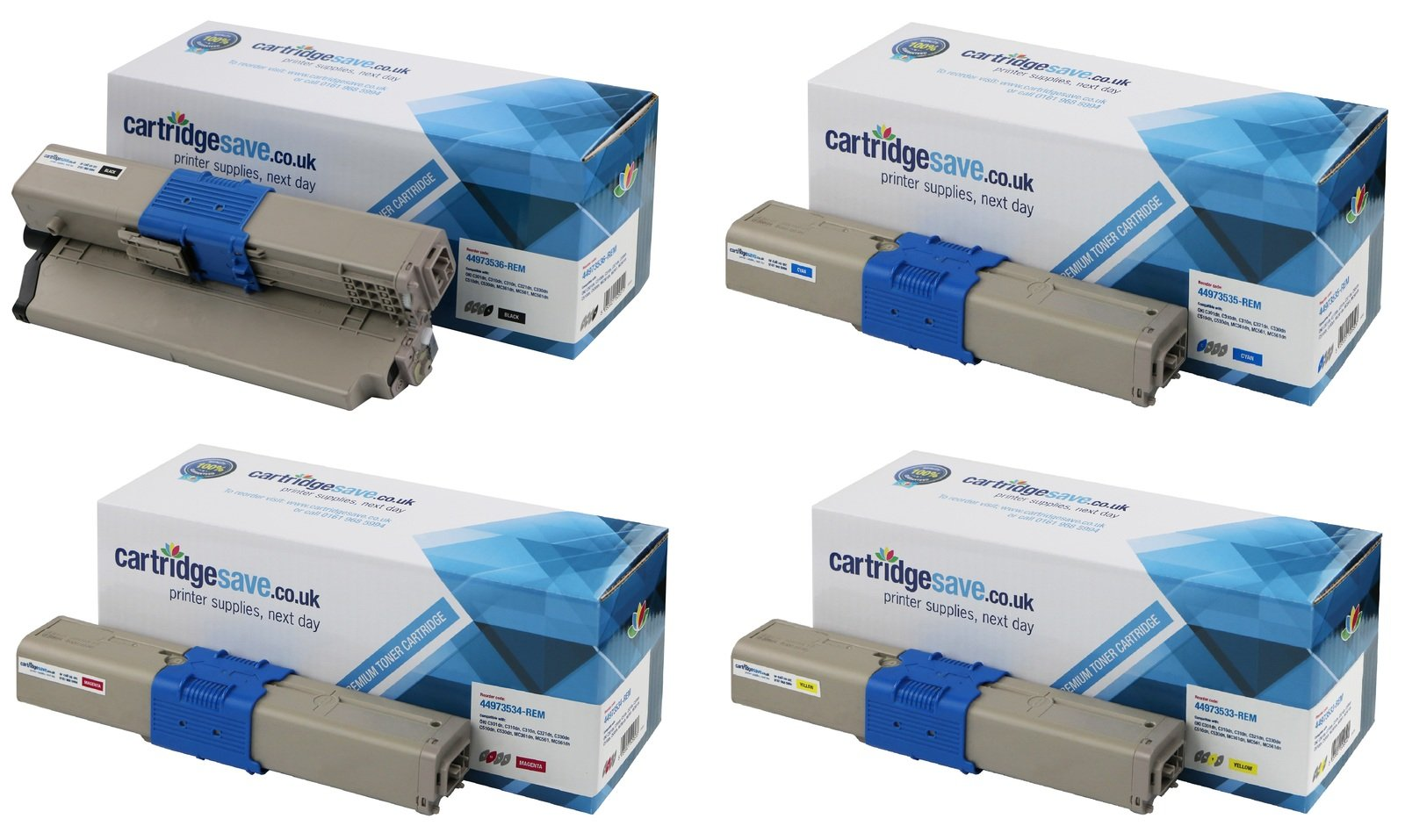 Compatible 4 Colour OKI 4497353 Toner Cartridge Multipack - (44973536/5/4/3)
