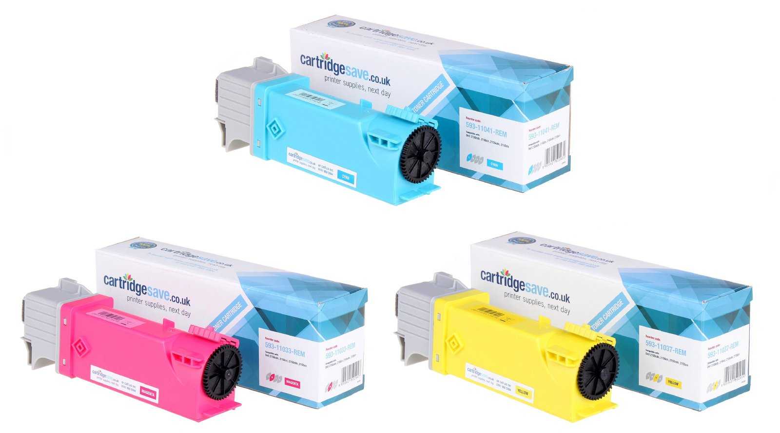 Compatible High Capacity 3 Colour Dell 593-110 Toner Cartridge Multipack - (593-11041/33/37)