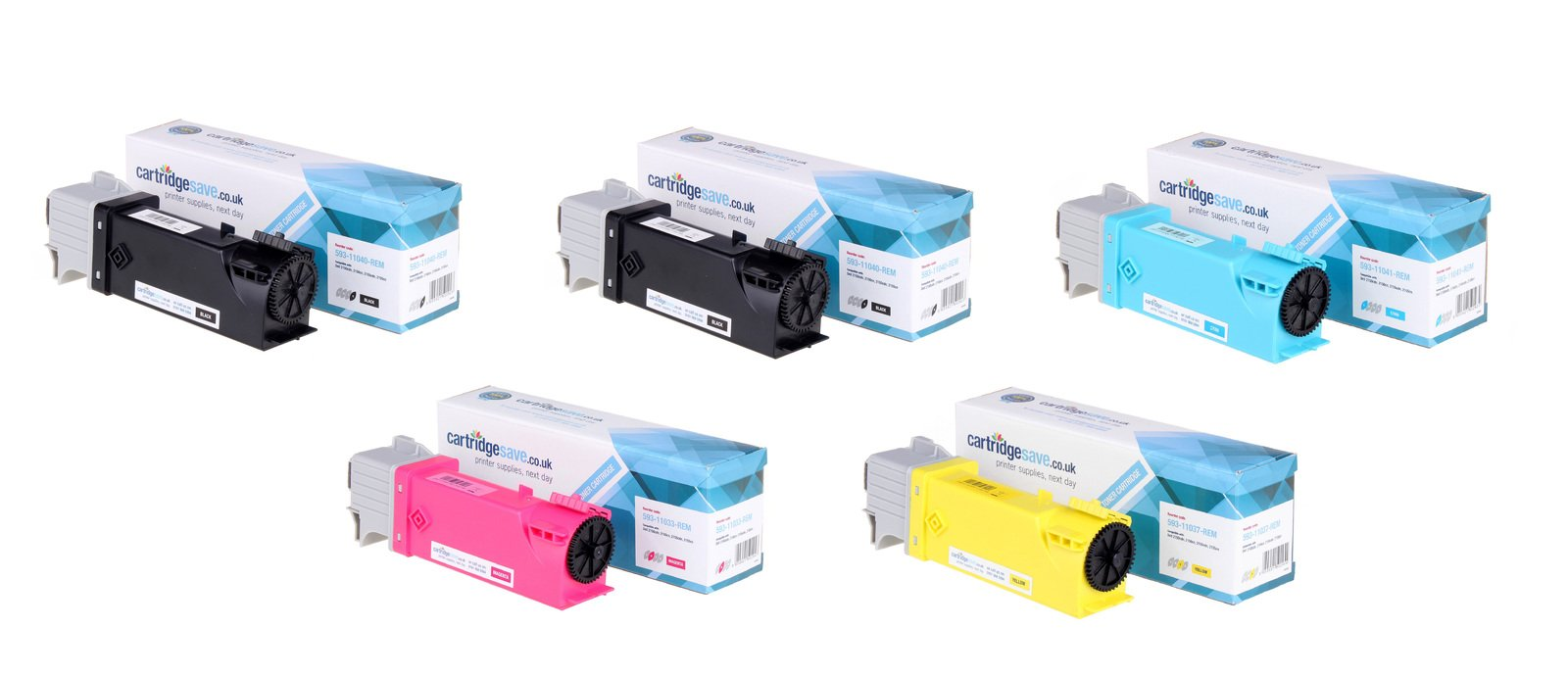 Compatible High Capacity 5 Colour Dell 593-110 Toner Cartridge Multipack - (593-11040/41/33/37)