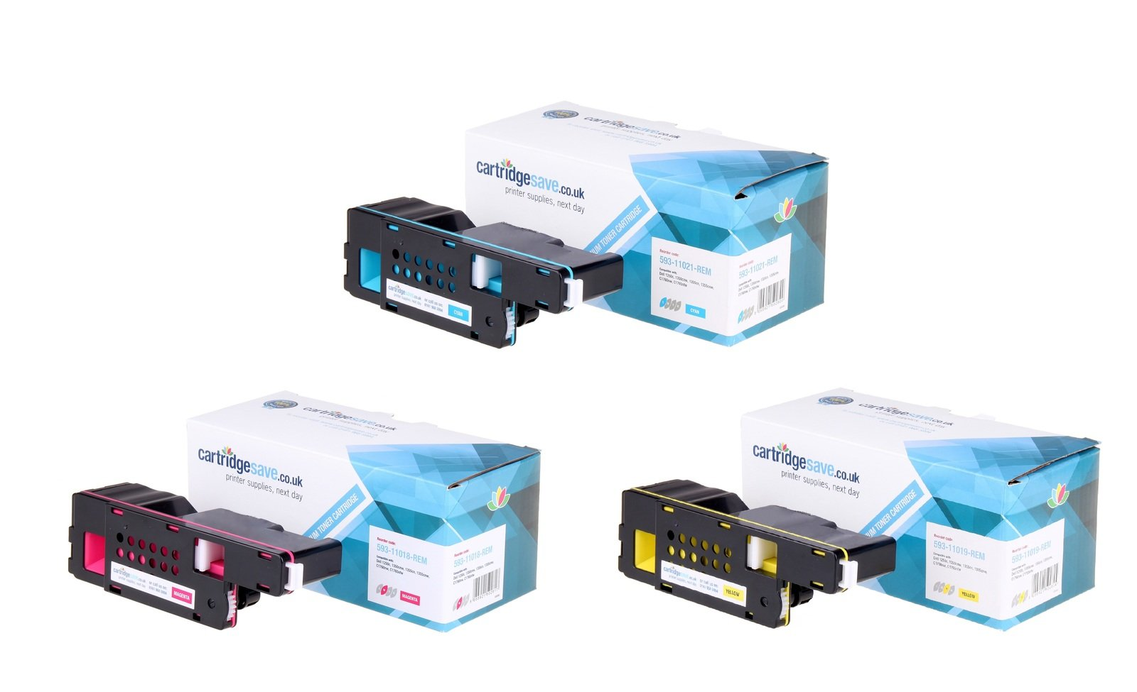 Compatible High Capacity 3 Colour Dell 593-1101 Toner Multipack (Replaces Dell 593-11021/11018/11019)