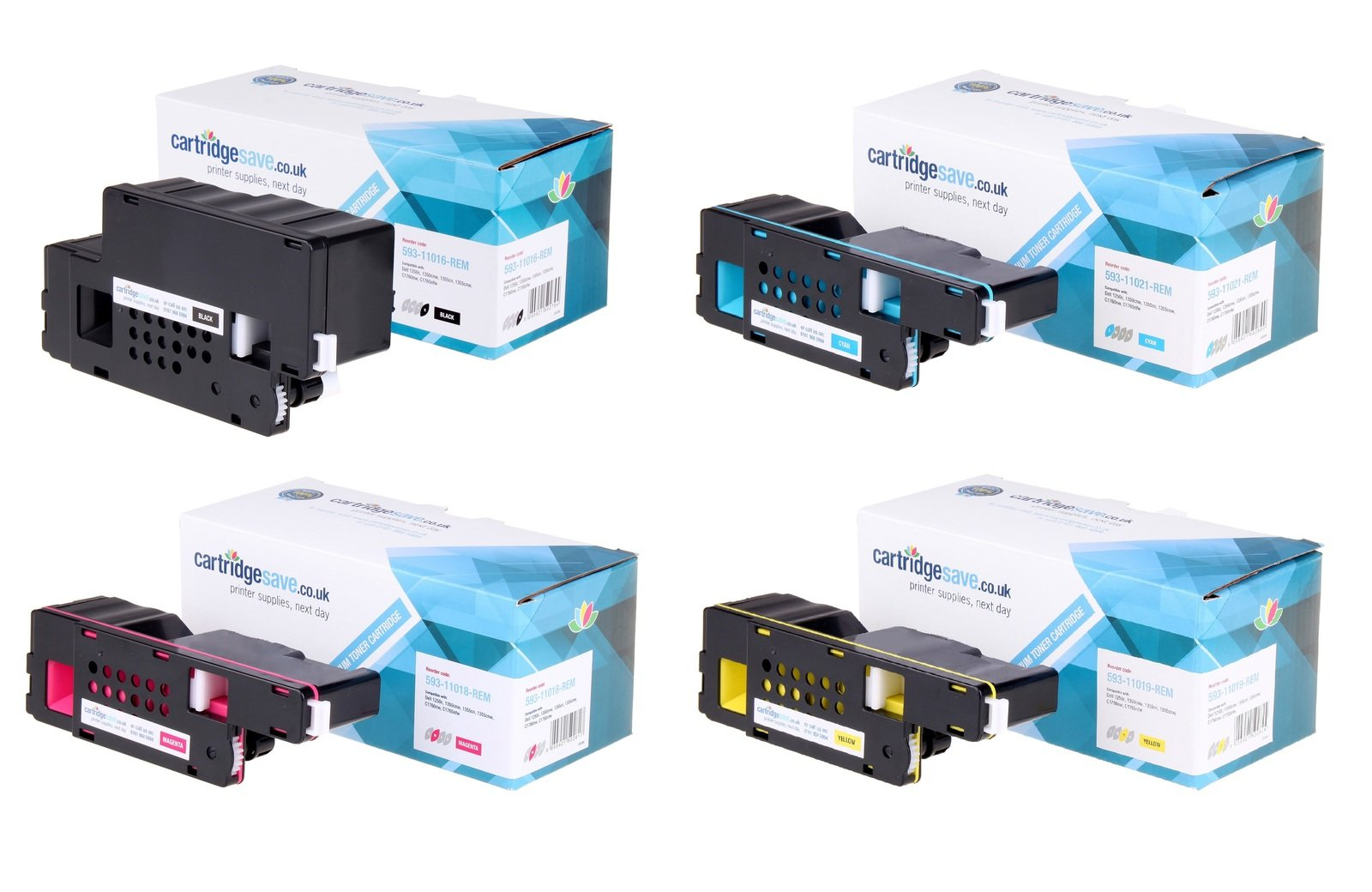 Compatible High Capacity 4 Colour Dell 593-1101 Toner Multipack (Replaces Dell 593-11016/11021/11018/11019)