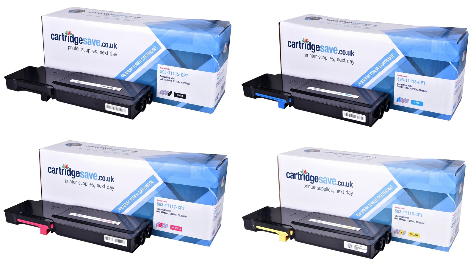 Compatible 4 High Capacity Colour Dell 593-1111H Toner Cartridge Multipack - (593-11115/8/7/6 Laser Printer Cartridges)