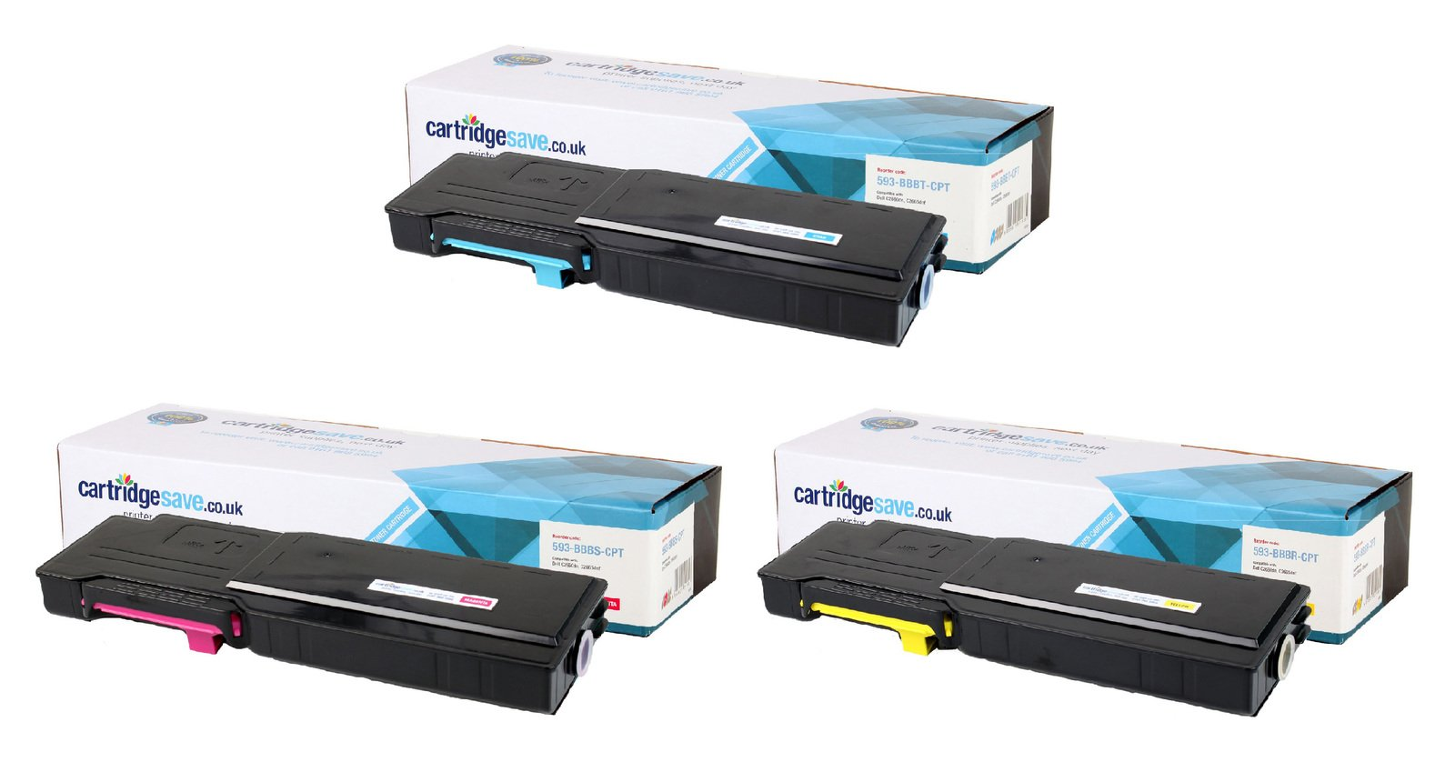 Compatible High Capacity 3 Colour Dell 593-BBB Toner Cartridge Multipack - (593-BBBT/S/R)