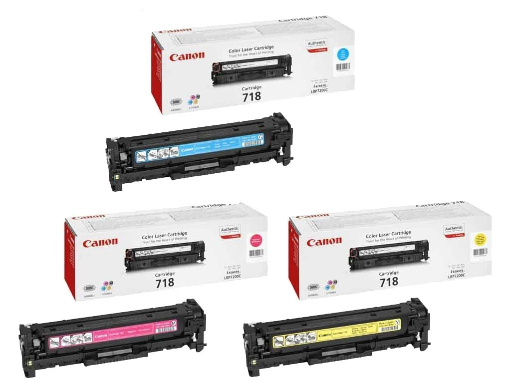Genuine 3 Colour Canon 718 Toner Cartridge Multipack (718 C/M/Y)