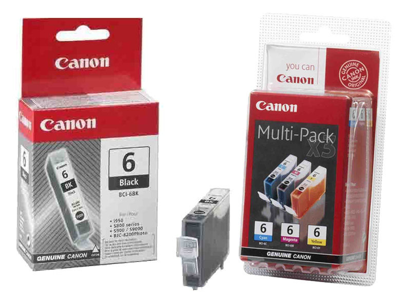 Genuine 4 Colour Canon BCI-6 Ink Cartridge Multipack - (BCI-6BK/C/M/Y)