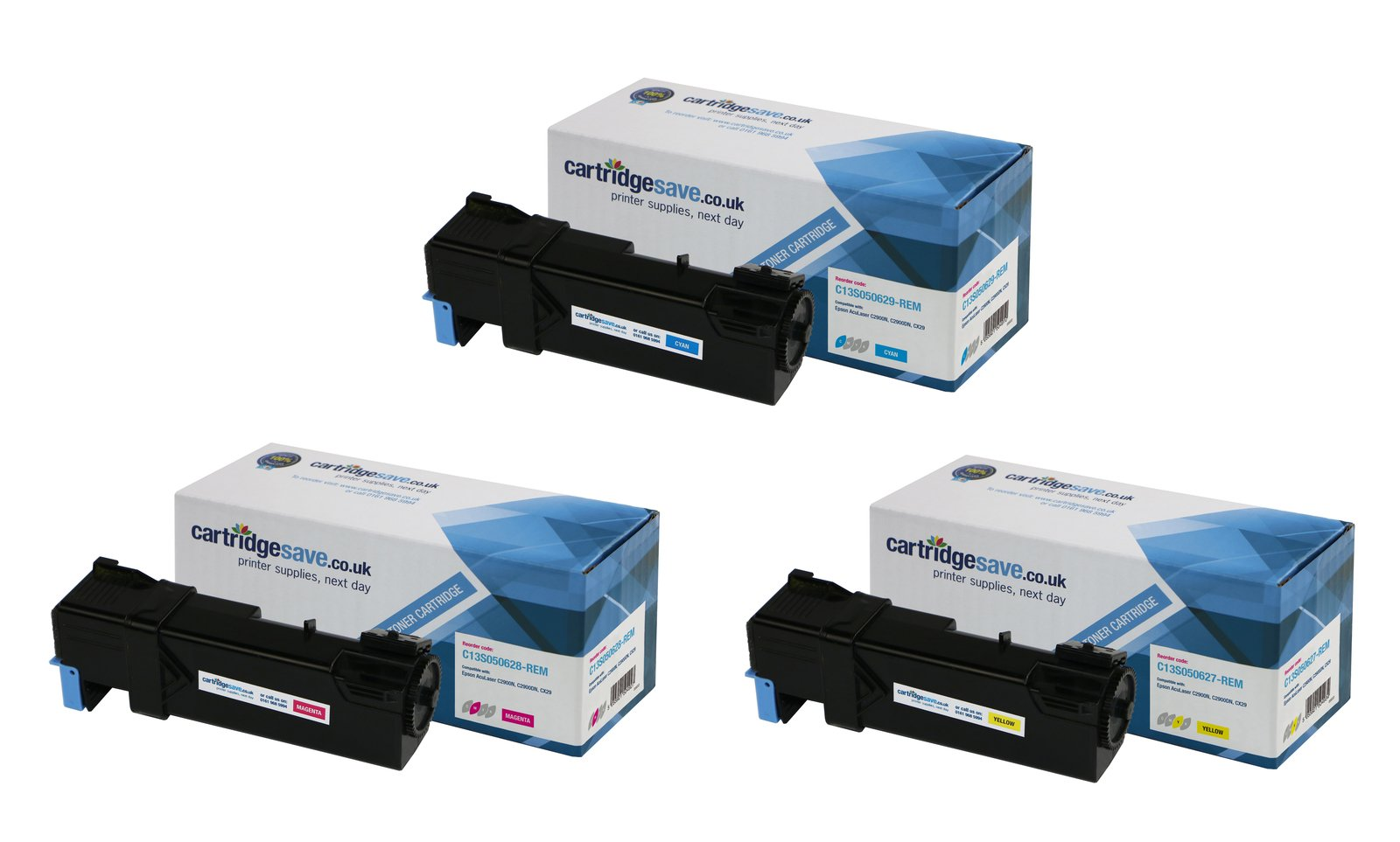 Compatible 3 Colour Epson S0506 Toner Cartridge Multipack - (Replaces Epson C13S050629/28/27)