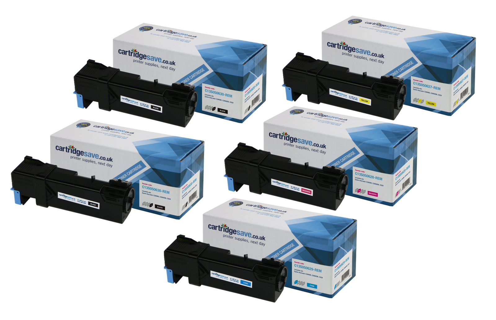 Compatible 5 Colour Epson S0506 Toner Cartridge Multipack - (Includes 2 x C13S050630/29/28/27)