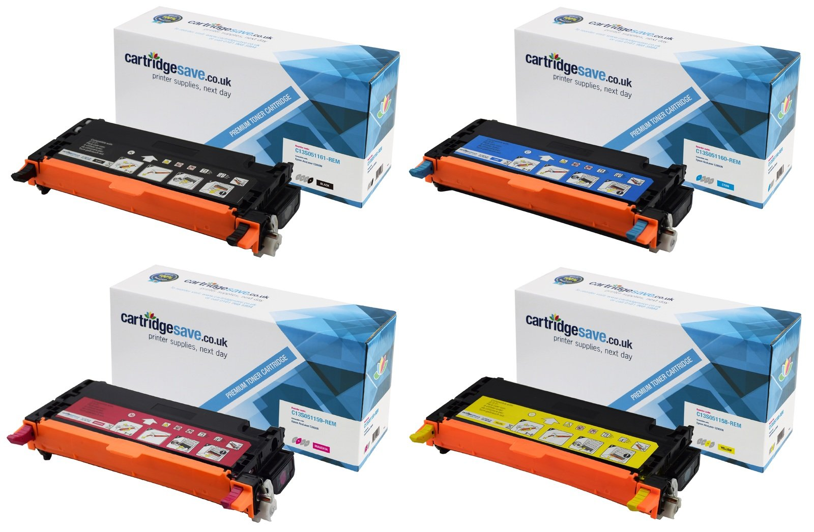 Compatible High Capacity 4 Colour Epson S0511 Toner Cartridge Multipack - (Replaces Epson C13S051161/60/59/58)