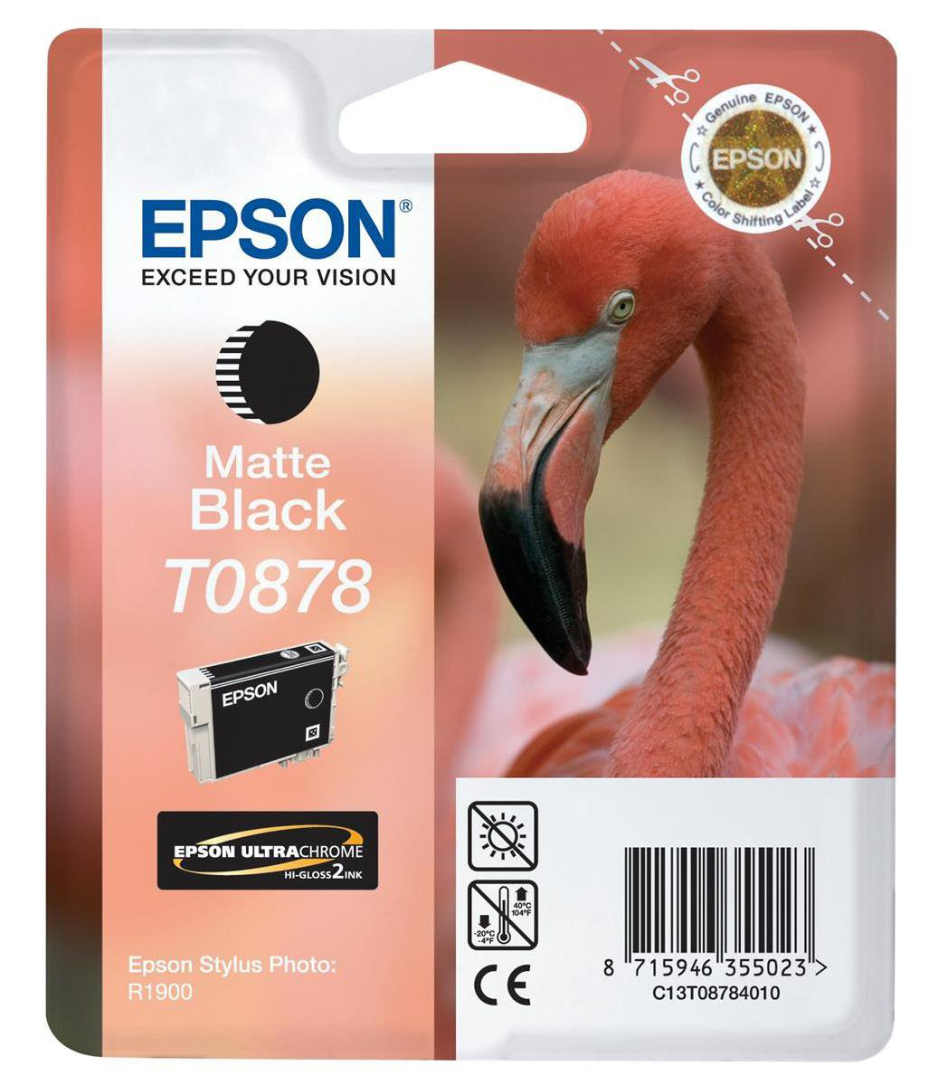 Genuine Matte Black Epson T0878 Ink Cartridge - (C13T087840 Flamingo Ultra Gloss Ink)