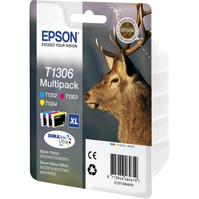 Genuine Extra High Capacity 3 Colour Epson T1306 Ink Cartridge Multipack - (T1306 Stag Inkjet Printer Cartridges)