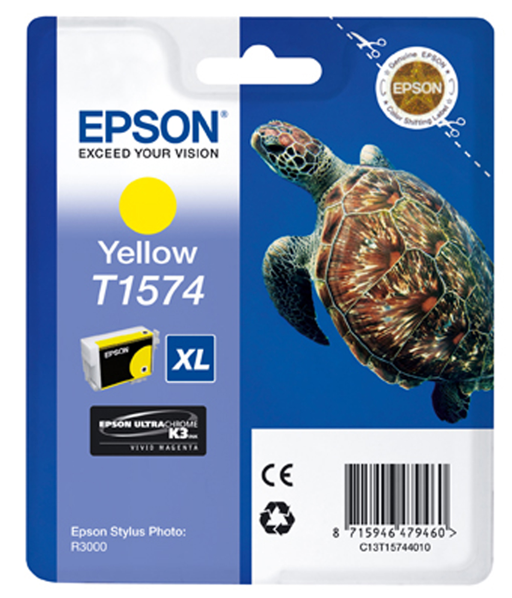 Genuine Yellow Epson T1574 Ink Cartridge - (C13T157440 Turtle Ultrachrome Ink Cartridge)