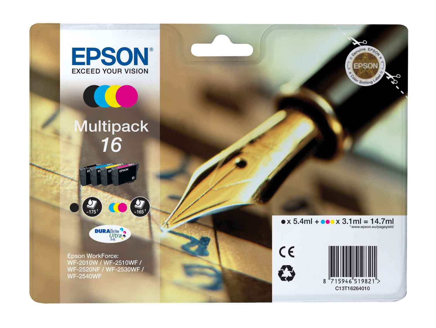 Genuine 4 Colour Epson 16 Ink Cartridge Multipack - (T1626 contains T1621/ T1622/ T1623/ T1624 Pen and Crossword Inkjet Printer Cartridges)