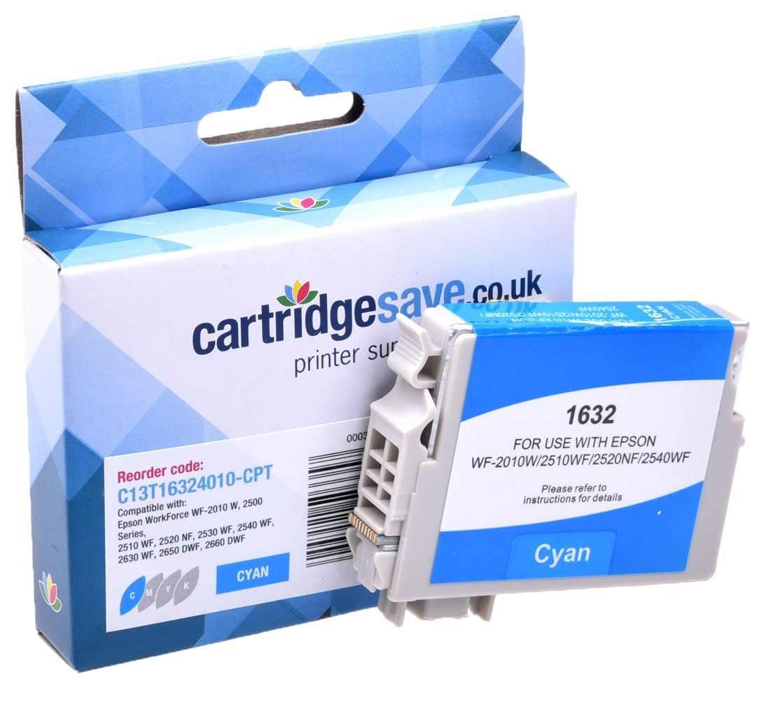 Compatible High Capacity Cyan Epson 16XL Ink Cartridge - (Replaces T1632 Pen and Crossword Inkjet Printer Cartridge)