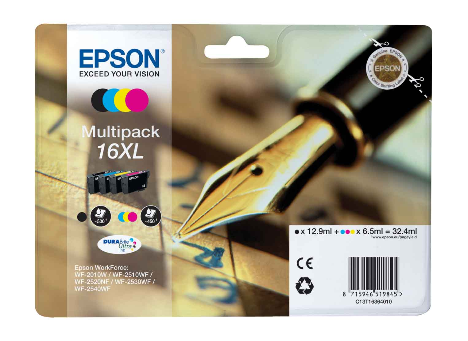 Genuine 4 Colour Epson 16XL High Capacity Ink Cartridge Multipack - (T1636 contains T1631/T1632/T1633/T1634 Pen and Crossword Inkjet Printer Cartridges)