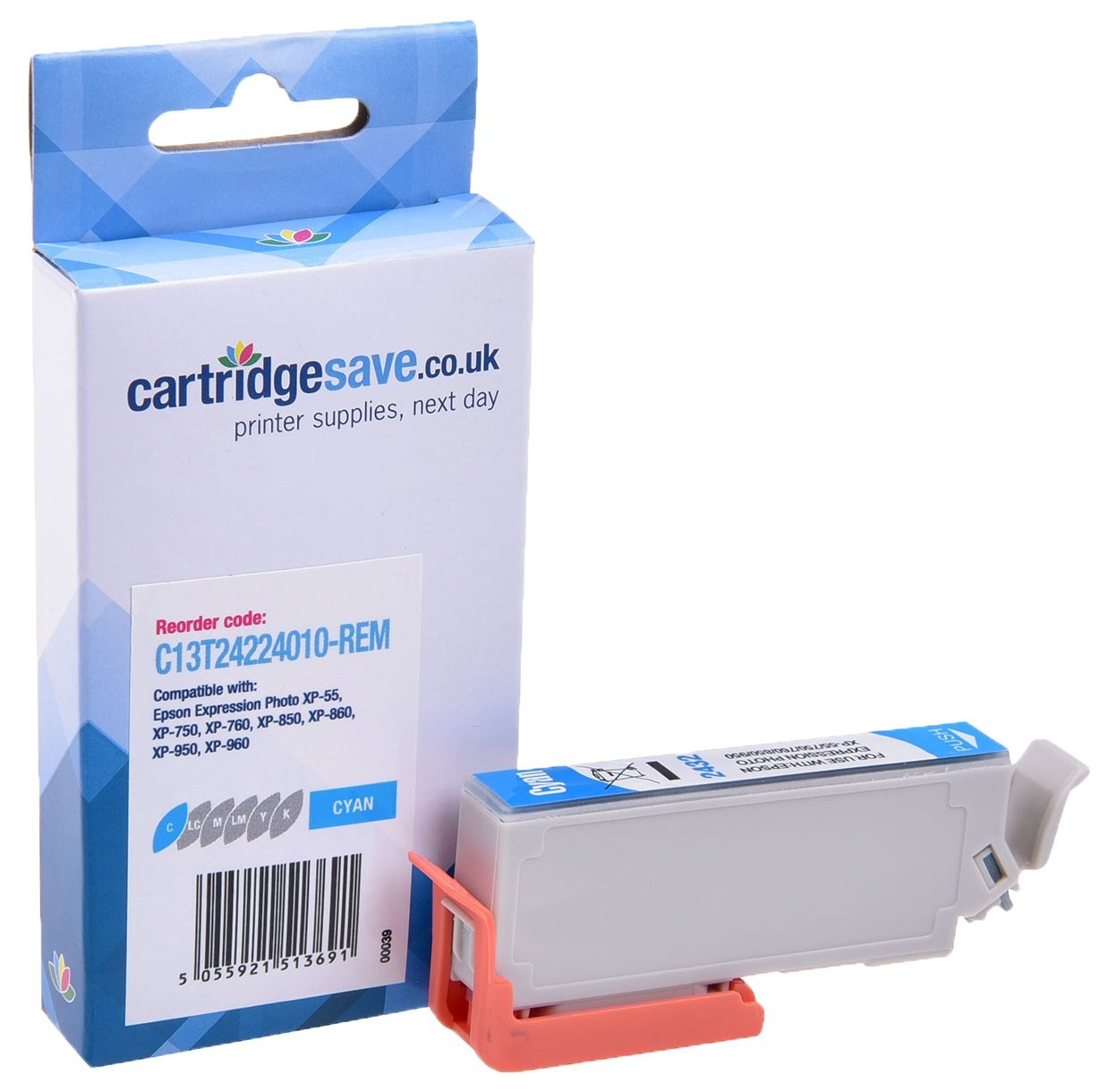 Compatible Cyan Epson 24 Ink Cartridge - (Replaces Epson T2422 Elephant Inkjet Printer Cartridge)
