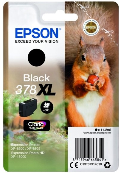 Genuine High Capacity Black Epson 378XL Ink Cartridge - (T3791 Squirrel Inkjet Printer Cartridge)