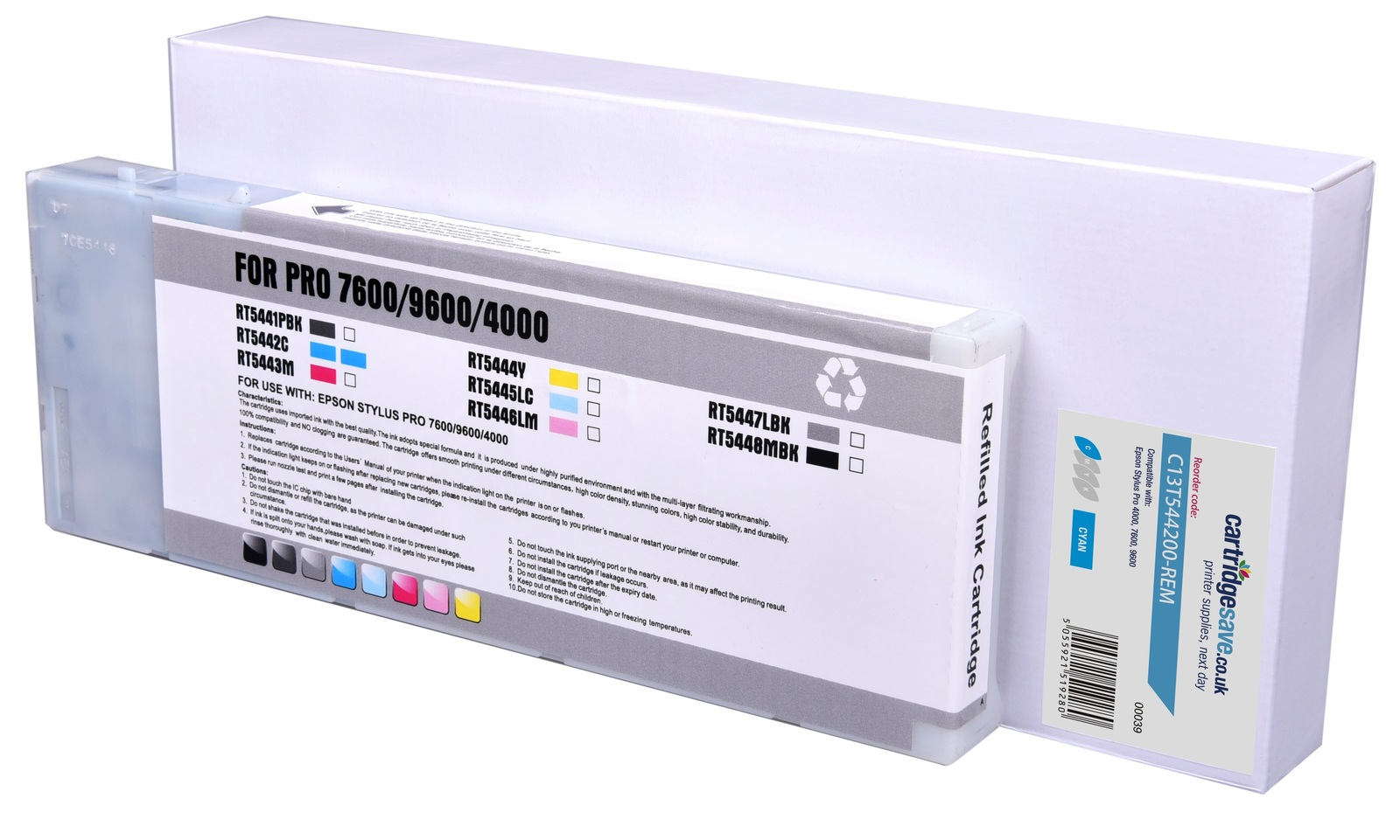 Compatible High Capacity Cyan Epson T5442 Ink Cartridge - (C13T544200)