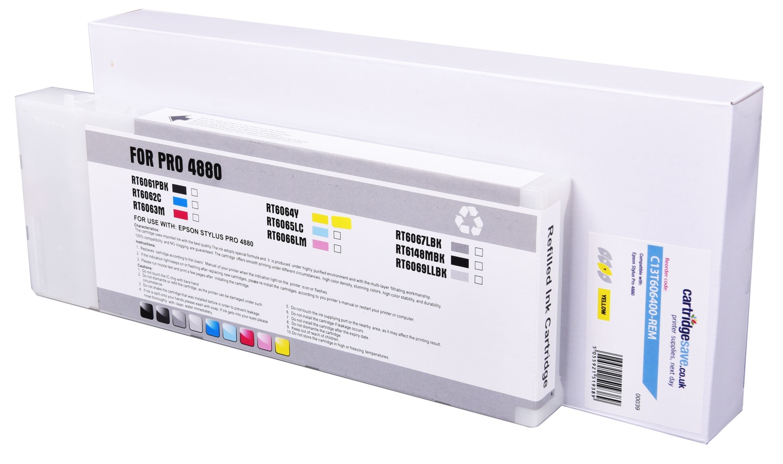 Compatible High Capacity Yellow Epson T6064 Ink Cartridge - (C13T606400)