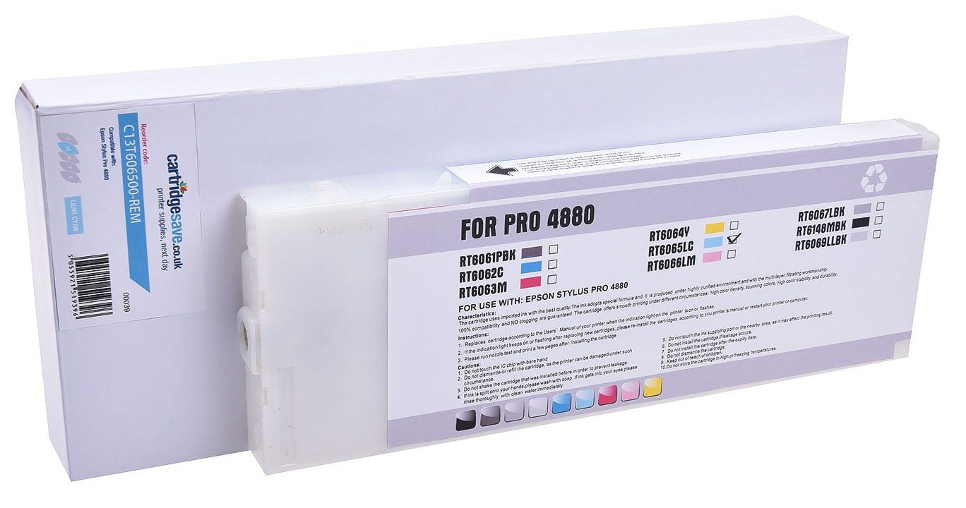 Compatible High Capacity Light Cyan Epson T6065 Ink Cartridge - (C13T606500)