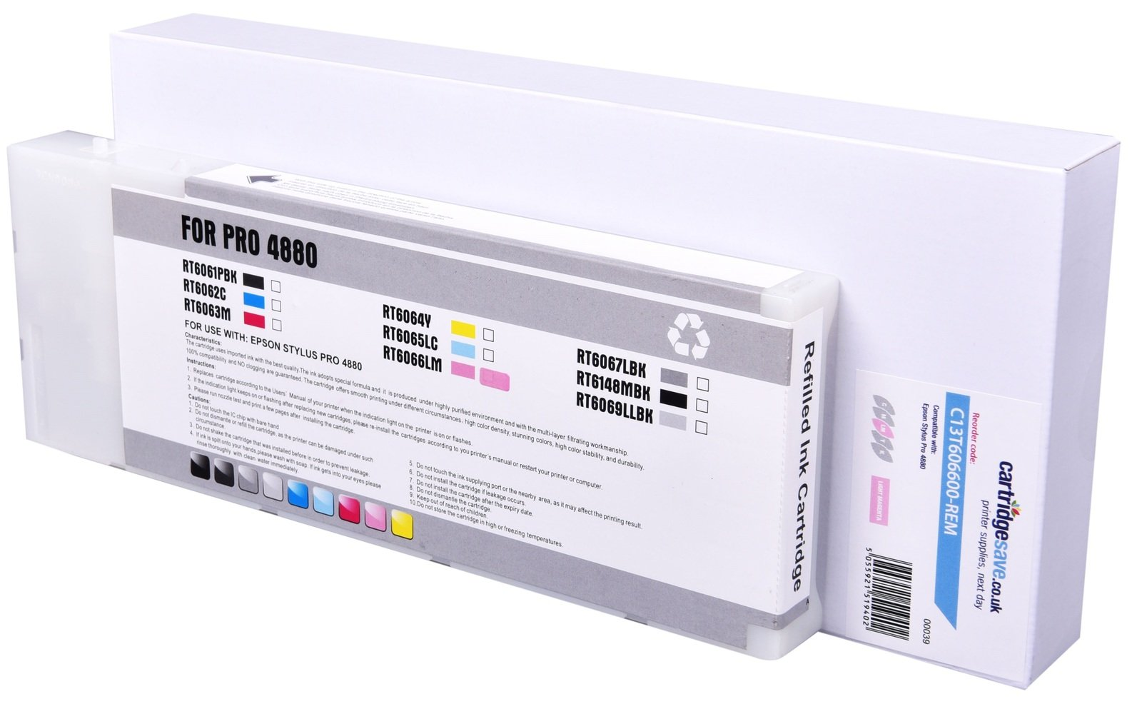 Compatible High Capacity Vivid Light Magenta Epson T6066 Ink Cartridge - (C13T606600)