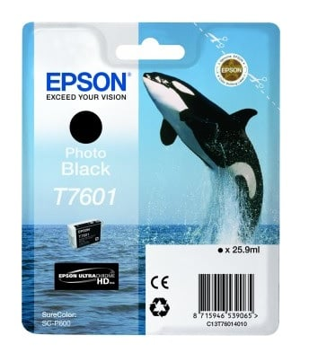 Genuine Photo Black Epson T7601 Ink Cartridge - (C13T760140 Killer Whale Ultrachrome HD Ink Cartridge)