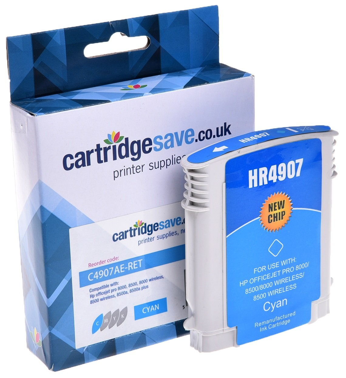 Compatible High Capacity Cyan HP 940XL Ink Cartridge - (Replaces HP C4907AE)