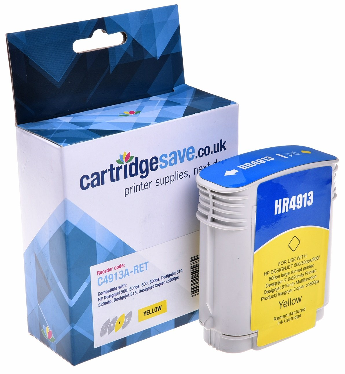 Compatible High Capacity Yellow HP 82 Ink Cartridge - (C4913A)