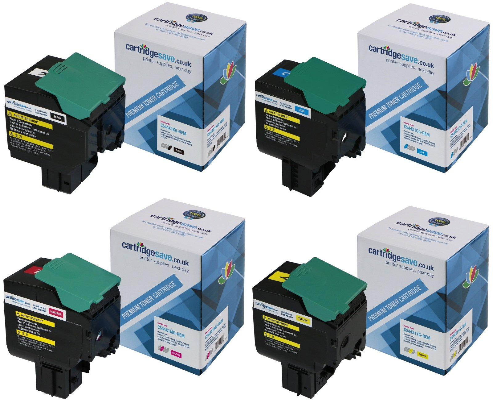 Compatible Extra High Capacity 4 Colour Lexmark C544X1 Toner Multipack - (C544X1KG/CG/MG/YG)